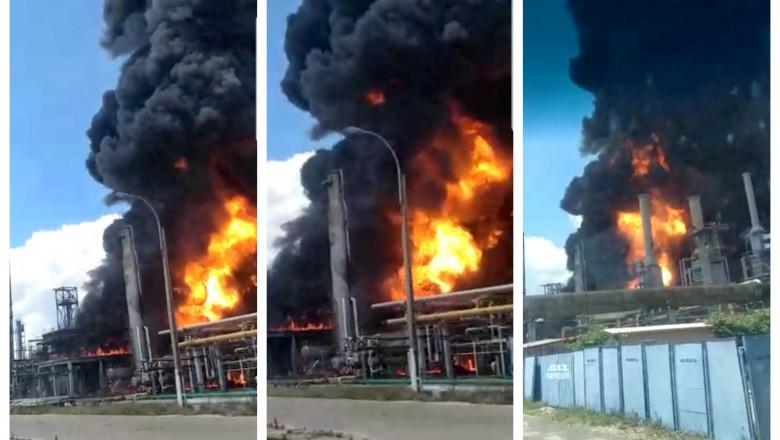Explozie și incendiu la Rafinăria Petromidia Năvodari, mai multe persoane rănite.50 de pompieri la fața locului.